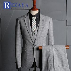 セットアップ メンズ スーツ フォーマル   スリーピース  スリム  テーラード ビジネススーツ スラックス 通  勤 結婚式 紳士服|rezayastore