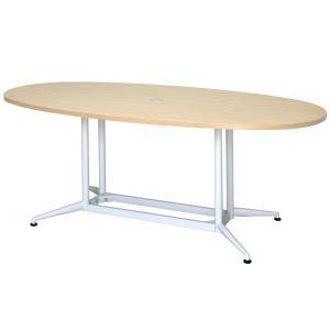 【商品説明】 人が集まりやすいオーバル型で足さばきもよいOAミーティングテーブル。天板中央には配線穴...