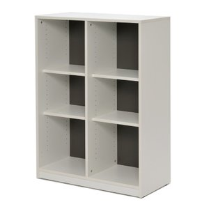 【商品説明】 プリーマ木製格子型シェルフ(2列3段)。本体ホワイト、背板グレーのおしゃれな収納。棚板...
