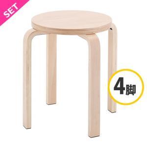 木製丸椅子 / ナチュラル (4脚入) Z-SHSC-1-4SET  スタックチェア いす 丸椅子 丸イス ラウンドチェア 待合 スツール 椅子 北欧  丸イス|rf-yamakawa-y
