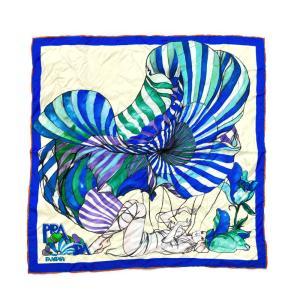 プラダ FFANTASY・ファンタジー シルク スカーフ 女性と花 ネックウェア/1FF004_2CAX_F0136/ブルー系/PRADA 翌日配送可/b210920/409176 rfstore