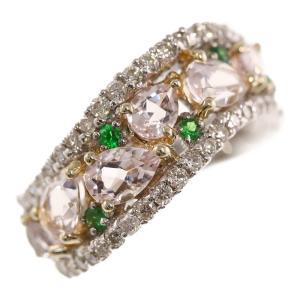 ベリル×グリーングロッシュラーガーネット×ダイヤモンドリング・指輪/K18Y+W,2カラー-6.9g/1.74ct/0.62ct 0.19ct/14号/RF1/h191207/318514 rfstore