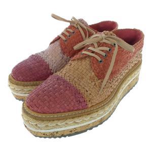 プラダ プラットフォーム・シューズ靴 レースアップ メッシュ/1E547D/36 1/2/レッド/ブラウン/ベージュ/PRADA/RF4/b200121/326521 rfstore