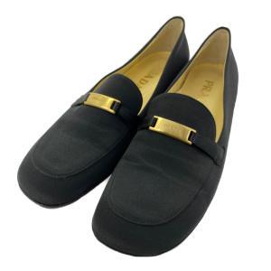 プラダ スクエアトゥ パンプス 靴/361/2/ブラック/ゴールド金具/PRADA 翌日配送可/b210913/407662 rfstore