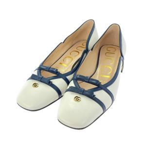 グッチ レザー リボン パンプス靴/608940/35/ホワイト/ネイビー/GUCCI 翌日配送可/b211007/411518 rfstore