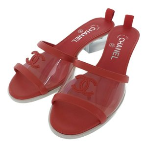 超美品・シャネル MULES・サンダル靴 19C ミュール トランスペアレント ココマーク/G34849/Y53250/36 1/2/レッド/クリア/CHANEL /b191225/324188 rfstore