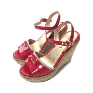 プラダ ジュートソール・ウェッジソールサンダル・パテントレザー・リボン付 靴/35/レッド/PRADA/b200404/338092 rfstore