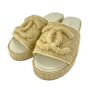 シャネル ココマーク ウエッジソール ストロー サンダル 靴/G34750/36C/ベージュ/CHANEL 翌日配送可/b211008/411450 rfstore