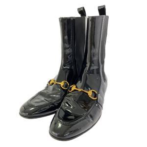 グッチ ホースビット パテントレザー サイドゴアブーツ(ショートブーツ) 靴/159499/38C/ブラック/ゴールド/GUCCI 翌日配送可/b211016/412448 rfstore