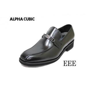 ビジネスシューズ  メンズ アルファキュービック 222黒3E靴  ALPHA CUBIC 本革ビジネス|rhythm-shoes