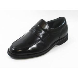 ビジネスシューズ メンズ ハッシュパピーM108黒4E幅広 軽量 本革 紳士靴 通勤靴 スリッポン|rhythm-shoes
