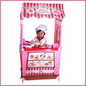 ままごとキッズテントのドーナツ屋さん リボンドーナツショップ カウンターテーブルセット お店屋さんごっこ ままごとキッチン|ribbon-m