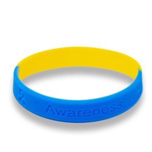 ブルー&イエローリボン ブレスレット ダウン症 染色体異常 アウェアネス ラバーバンド シリコン|ribbon-shop