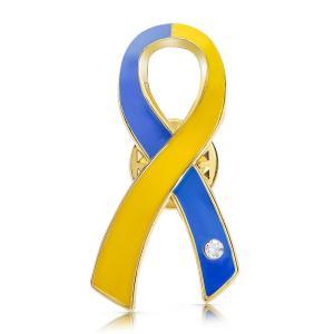 ブルー&イエローリボン ピンバッジ 大 ダウン症 染色体異常 アウェアネス バッチ バッチ バッヂ|ribbon-shop