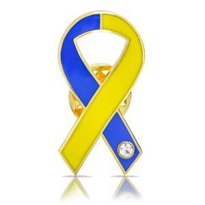 ブルー&イエローリボン ピンバッジ 平 ダウン症 染色体異常 アウェアネス バッチ バッチ バッヂ|ribbon-shop