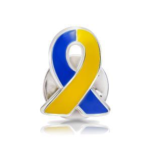 ブルー&イエローリボン ピンバッジ 小 ダウン症 染色体異常 アウェアネス バッチ バッチ バッヂ|ribbon-shop