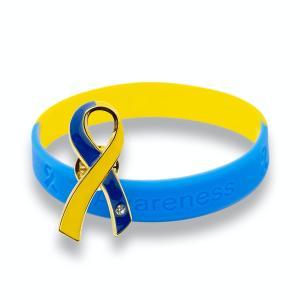 ブルー&イエローリボン ピンバッジ ブレスレット セット大 ギフトボックス付 ダウン症 染色体異常 アウェアネス バッチ シリコン|ribbon-shop