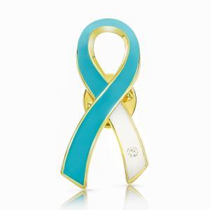 ティール&ホワイトリボン ピンバッジ 大 子宮頸がん 癌 検診 診断 アウェアネス バッチ バッヂ