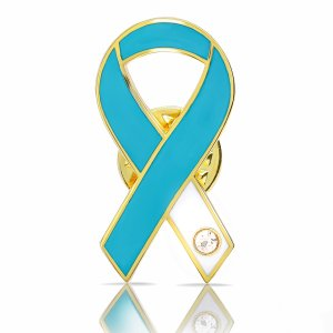ティール&ホワイトリボン ピンバッジ 平 子宮頸がん 癌 検診 診断 アウェアネス バッチ バッヂ