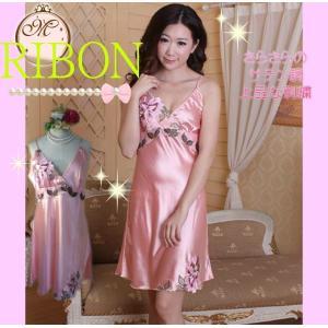 セクシー下着 ベビードール サテン調が素敵な刺繍ピンクスリップ|ribon