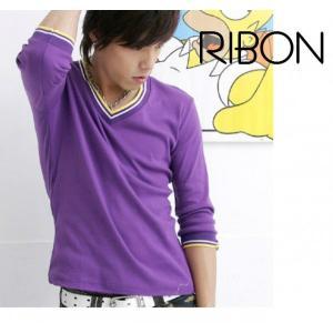 カラフルVネックカットソ-Tシャツ|ribon