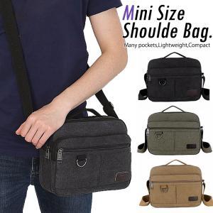 ショルダーバッグ メンズ 斜め掛け ミニ 小さめ 帆布 軽量 ポケット キャンバス ファスナー 使いやすい iPadmini|ribution