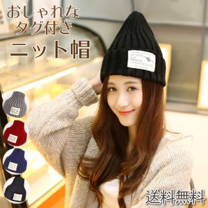 ニット帽 レディース 男女兼用 オシャレ なタグ付きニット帽 送料無料|ribution