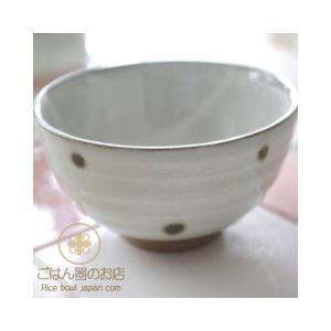 織部グリーン 水玉ドット ご飯茶碗 ricebowl