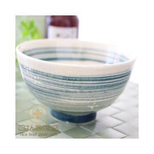 ライン模様花紋ご飯茶碗(大)(紺) 和食器|ricebowl