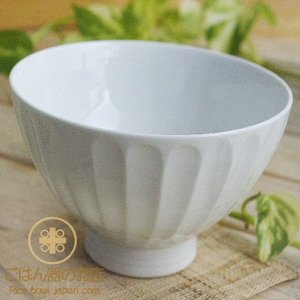 有田焼 波佐見焼 白い食器 茎彫 ご飯茶碗|ricebowl
