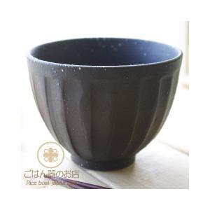 黒マット釉 白結晶ちらし 削り 十草ストライプ 小どんぶり ブラック 飯碗 茶碗|ricebowl