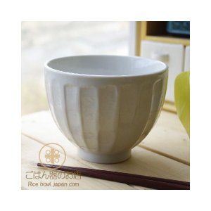 白い食器の 削りストライプ 十草丼 どんぶり 和食器|ricebowl