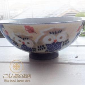 美味しいごはん しあわせふくろう ブルー青 ご飯茶碗 茶漬け碗 ricebowl