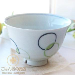 有田焼 波佐見焼 色しゃぼん玉 ご飯茶碗 グリーン緑 (大) 水切りカット付|ricebowl