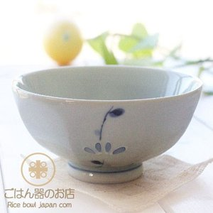 有田焼 波佐見焼 捻り草花 ご飯茶碗 (青大)|ricebowl