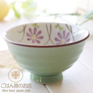 有田焼 波佐見焼 色巻小花 ご飯茶碗 (グリーン緑大) ricebowl