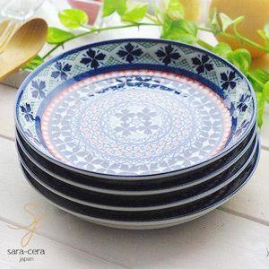 食器セット 4枚セット 美しいボレスワヴィエツの街 ラピスラズリフローレット 前菜デザートケーキプレート ポタリー風|ricebowl