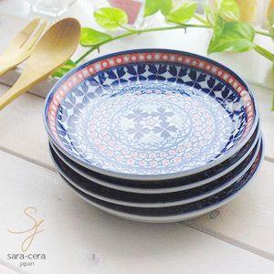 食器セット 4枚セット 美しいボレスワヴィエツの街 ラピスラズリフローレット パンプレート シェアプレート ポタリー風|ricebowl
