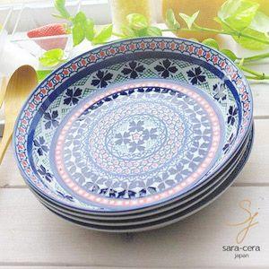 食器セット 4枚セット 美しいボレスワヴィエツの街 ラピスラズリフローレット やっぱり大好き!パスタ カレープレート ポタリー風|ricebowl