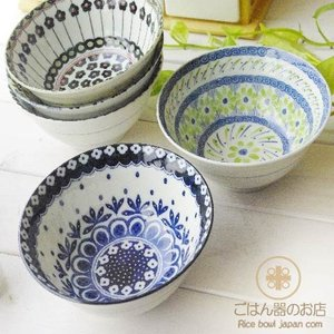 【5個セット】美しいボレスワヴィエツの街 ポタリーフィールド ご飯茶碗(大) 茶漬碗 丼 どんぶり ポタリー風 飯碗 茶碗 和食器 陶器 和食器 セット|ricebowl