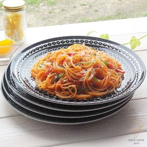 4枚セット 美しいボレスワヴィエツの街 シノワズリブラック お料理パスタメインプレート 25cm ポタリー風 黒|ricebowl