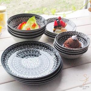 【送料無料】16ピースセット 美しいボレスワヴィエツの街 シノワズリブラック (朝食・デザートセット) 家族のHaapybox ポタリー風 福袋 黒|ricebowl