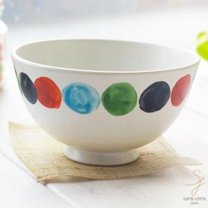 手描き色絵 オーバーグレーズ ご飯茶碗(ビー玉ドット) 和食器 水玉 飯碗 茶碗|ricebowl