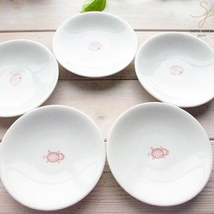 5枚セット幸せの白い器 赤い糸  使えるサイズのお取り皿 ブレッドプレート 中皿 16.5cm 亀は万年,めで鯛 祝い鯛 おめでたい,軽量白磁,食器セット 和食器 セット|ricebowl
