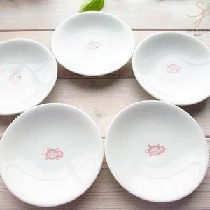 【5枚セット】幸せの白い器 赤い糸  プチディッシュ 小皿 12cm(鯛・亀) 亀は万年,めで鯛 祝い鯛 おめでたい ,軽量白磁,食器セット|ricebowl