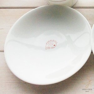 幸せの白い器 赤い糸  めで鯛 祝い鯛 おめでたい  使えるサイズのお取り皿 ブレッドプレート 中皿 16.5cm(※単品) 軽量白磁 丸皿|ricebowl