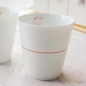 幸せの白い器 赤い糸  めで鯛 祝い鯛 おめでたい フリーカップ(※単品) 軽量白磁|ricebowl