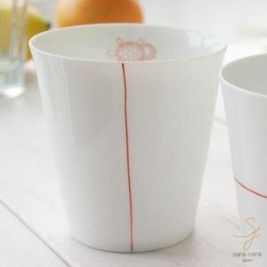 幸せの白い器 赤い糸  亀は万年 フリーカップ(※単品) 軽量白磁,かめ,カメ|ricebowl