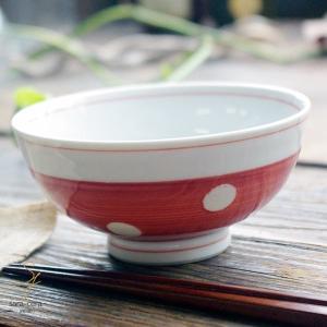 波佐見焼 みずたま-すたんだーど ご飯茶碗 飯碗(赤レッド)和食器 和風 ドット ricebowl
