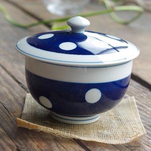 波佐見焼 みずたま-すたんだーど ふた蓋付 煎茶碗(瑠璃色 藍色 紺 青ブルールリ色)和食器 和風 ドット ricebowl